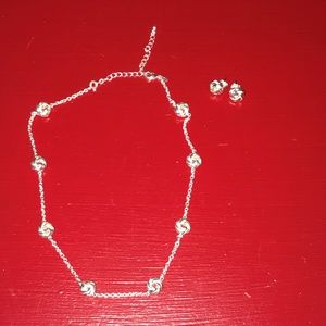 Silver Love Knot Chain & Matching Earrings
